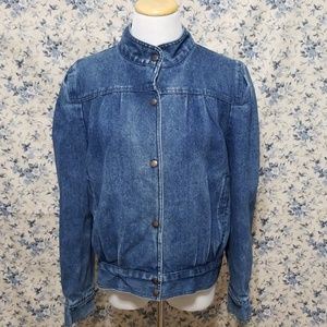 VINTAGE 80's pleated feminine Jean denim jacket